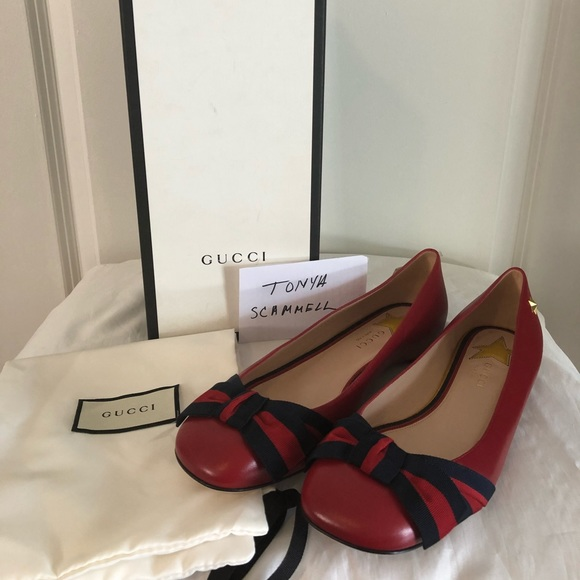 39b5435b162 Gucci Red Aline Web Ribbon Bow Ballerina Flats